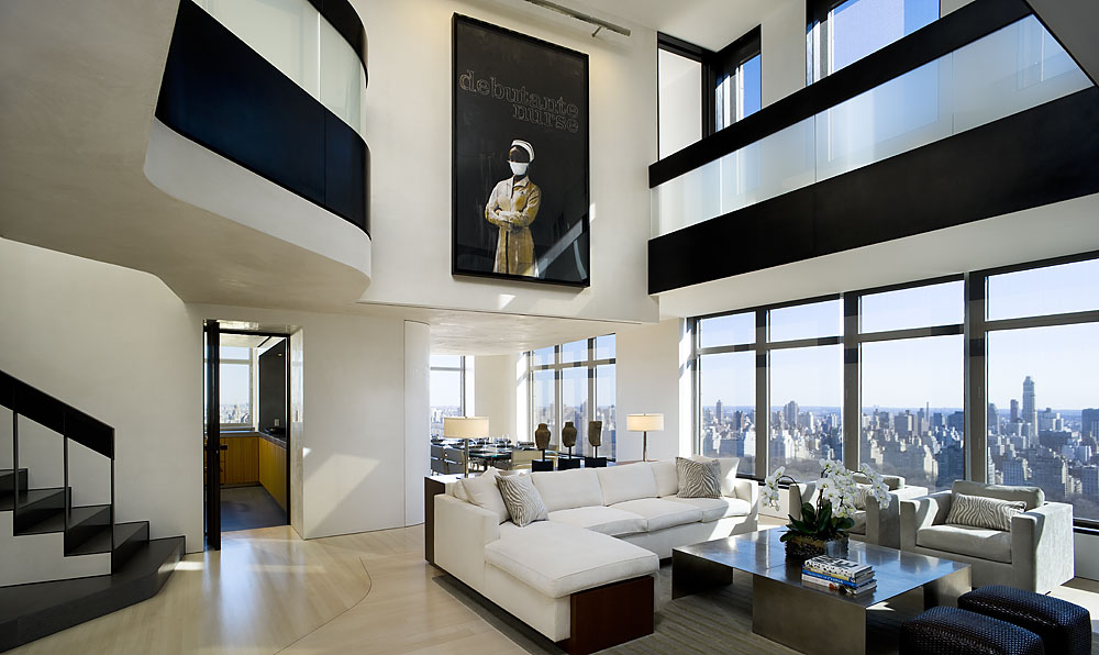 cool modern luxury penthouse living room | Apartment 40/41 - Gwathmey Siegel Kaufman ...